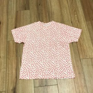 Short sleeve paisley red and white top size s